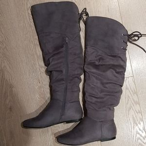 Gray suede over the knee boots